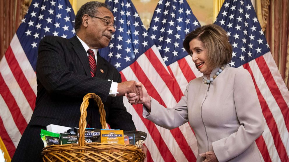 Pelosi pays off Super Bowl bet with pistachios and San Francisco chocolates thumbnail