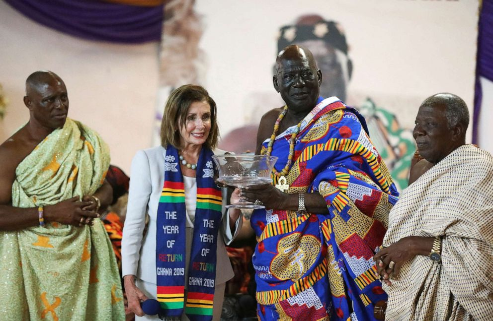 PHOTO: Speaker of the House Nancy Pelosi poses for a photograph after presenting a gift to Paramount Chief of Cape Coast traditional area, Osabarima Kwesi Atta II, in Ghana July 30, 2019.