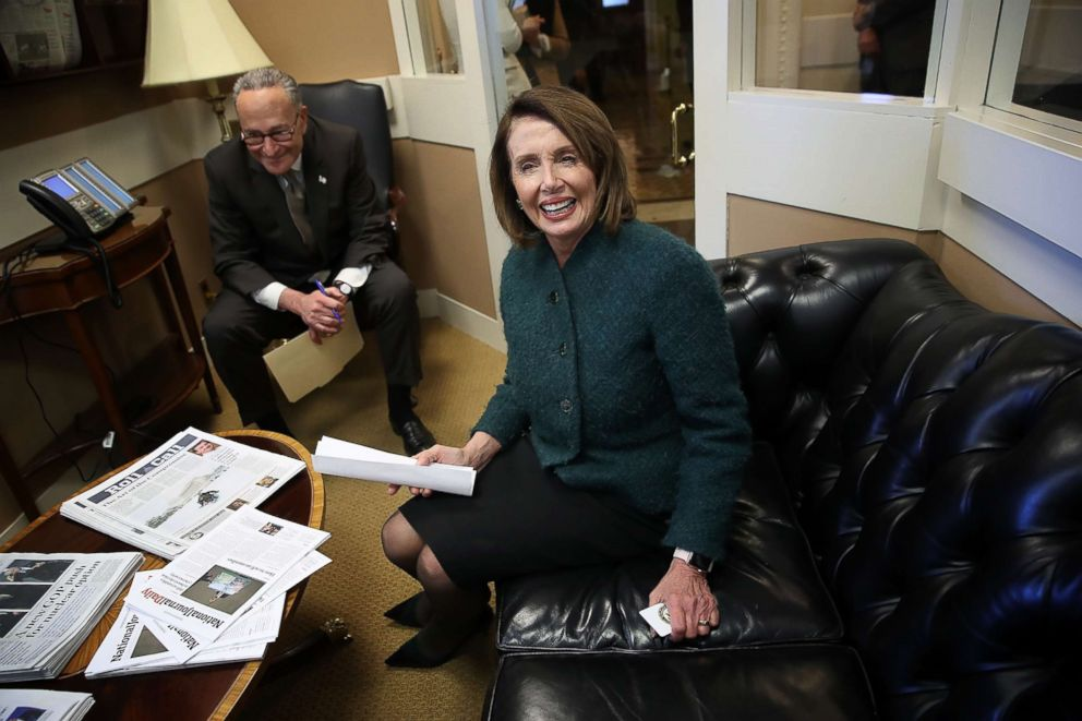 PHOTO: House Minority Leader Nancy Pelosi (D-CA) and Senate Minority Leader Chuck Schumer (D-NY) meet prior to a news conference at the U.S. Capitol, March 22, 2018.