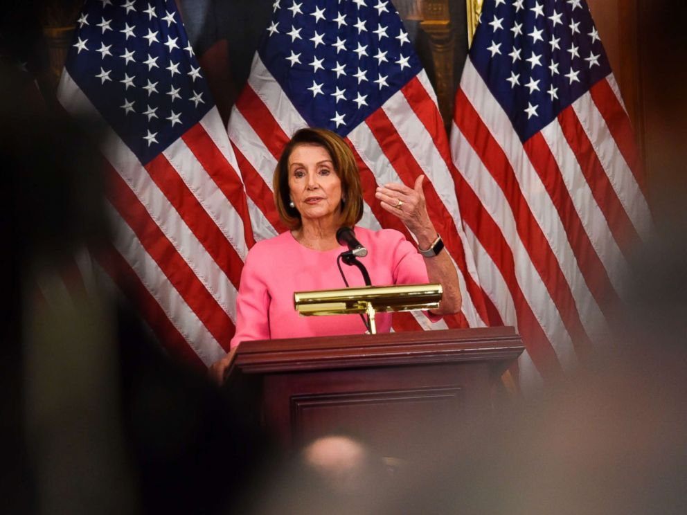 PHOTO: House Minority leader Nancy Pelosi speaks during a press conference after Democrats took back control of the house in Washington, D.C., Nov. 7, 2018.