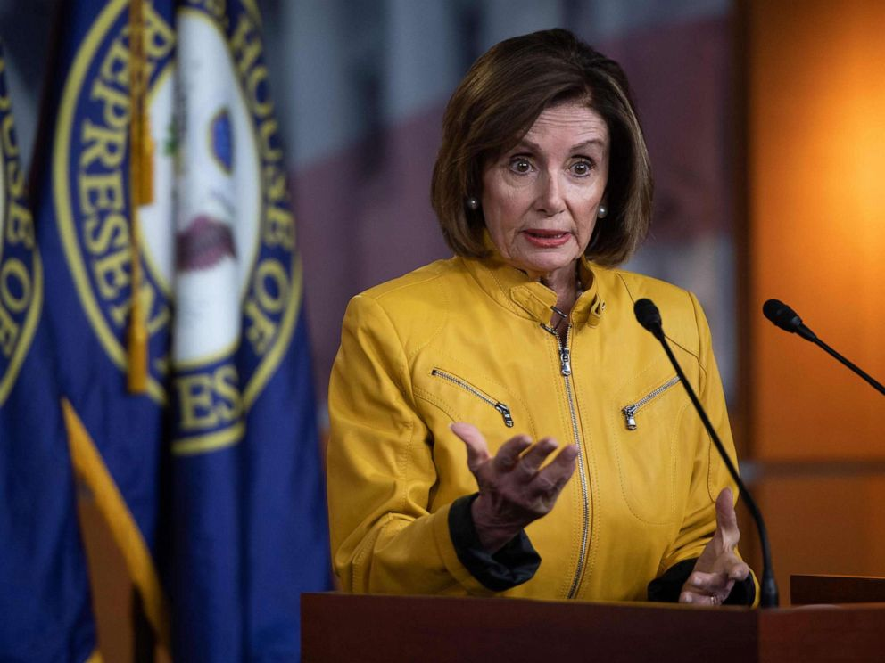 PHOTO: Speaker of the House of Representatives Nancy  speaks to the press,  13, 2019, during her weekly press  on  Hill.