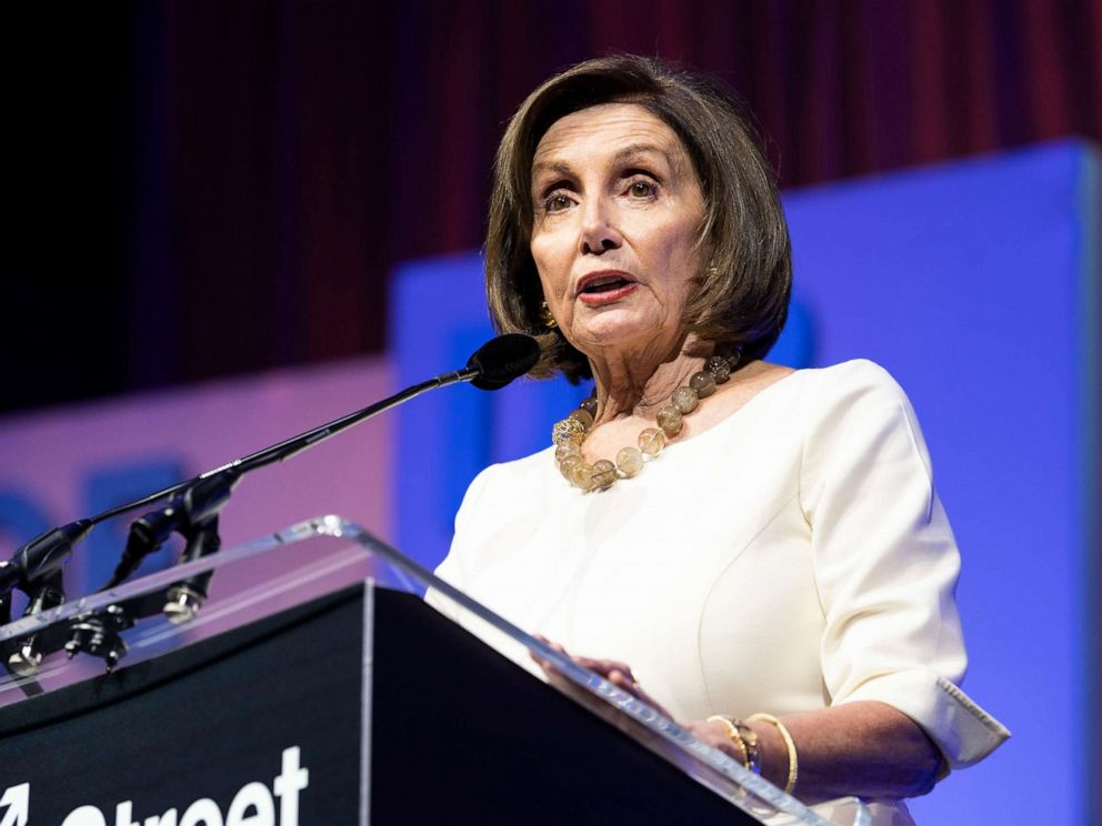PHOTO: Nancy Pelosi, Speaker of the U.S. House of Representatives, is shown speaking at the J Street National Conference at the Walter E. Washington Convention Center in Washington, D.C., Oct. 28, 2019.