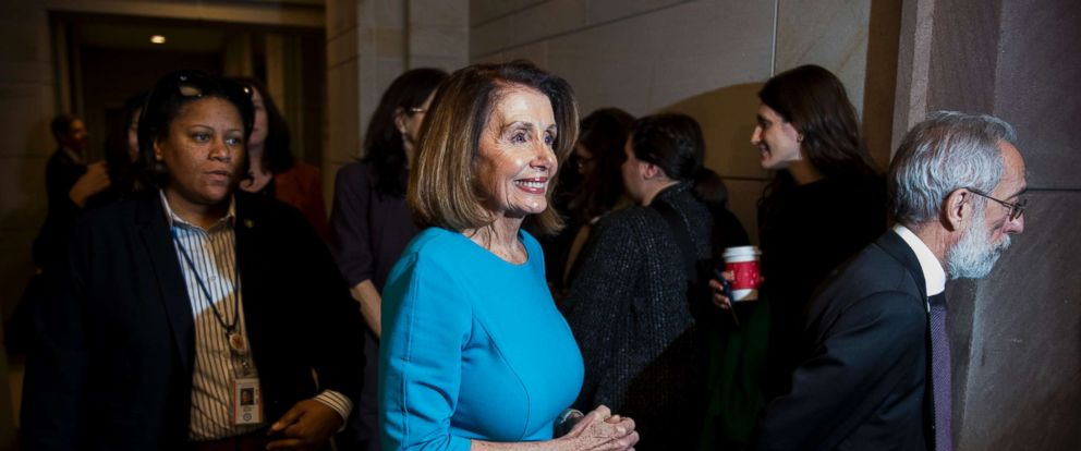 PHOTO: House Minority Leader Nancy Pelosi, leaves the CVC Auditorium during a break in the House Democrats organizational caucus meetings, Nov. 28, 2018.