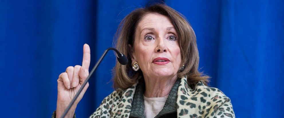 PHOTO: Speaker Nancy Pelosi addresses the media at the House Democrats 2019 Issues Conference at the Lansdowne Resort and Spa in Leesburg, Va., April 11, 2019.