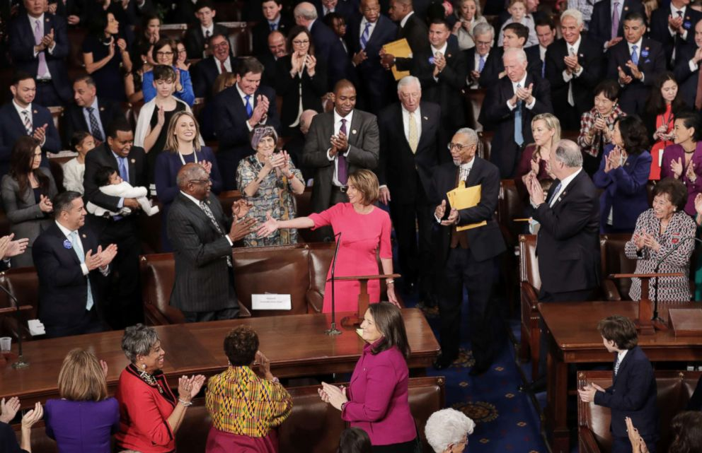 Speaker-designate Rep. Nancy Pelosi is applauded by members of Congress after being nominated during the first session of the 116th Congress at the U.S. Capitol, Jan. 03, 2019 in Washington.