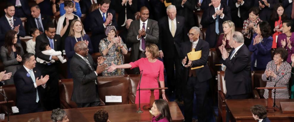 PHOTO: Speaker-designate Rep. Nancy Pelosi is applauded by members of Congress after being nominated during the first session of the 116th Congress at the U.S. Capitol, Jan. 03, 2019 in Washington.