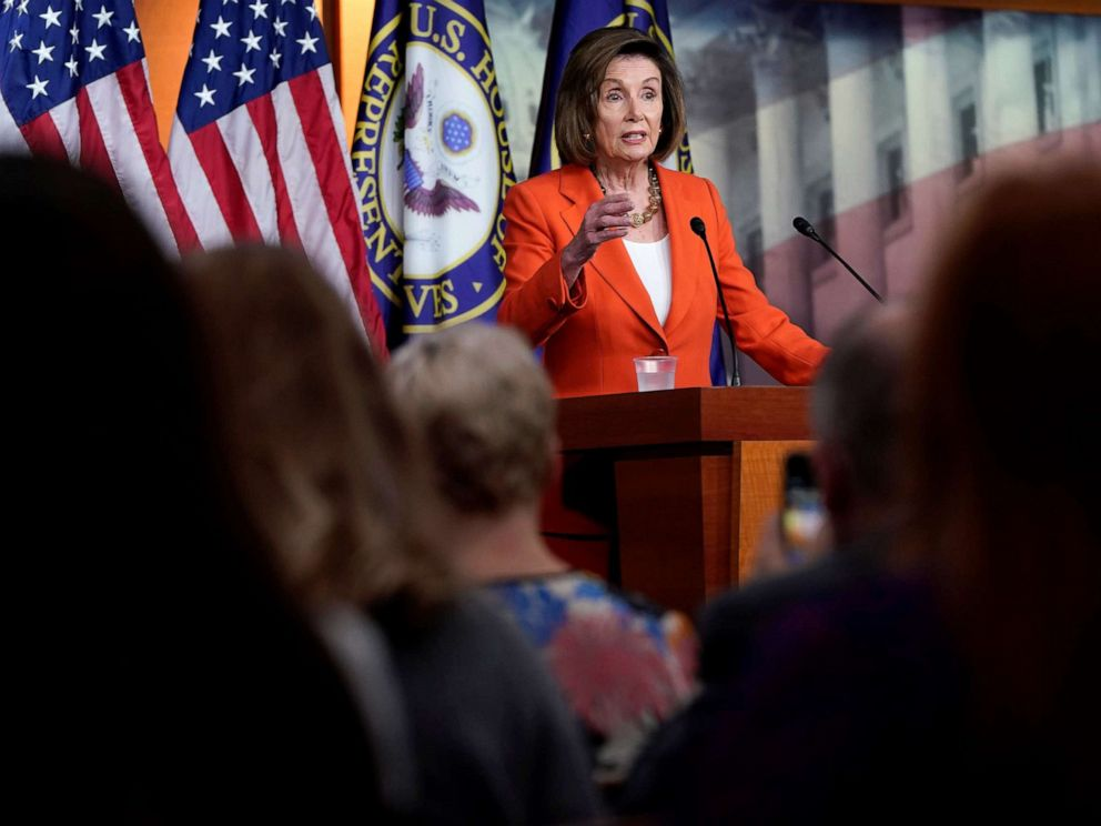PHOTO: Speaker of the House Nancy Pelosi speaks during a media briefing ahead of a House vote authorizing an impeachment inquiry into President Trump on Capitol Hill in Washington, D.C., Oct. 31, 2019.