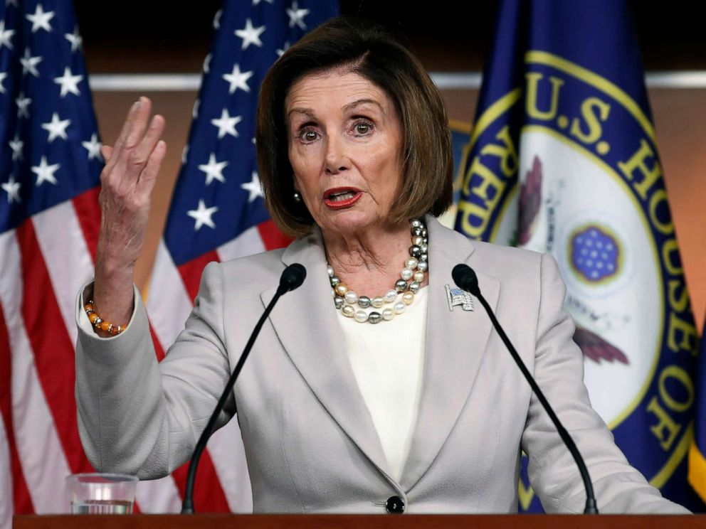 PHOTO: House Speaker Nancy Pelosi of Calif., gestures while speakings during a news conference on Capitol Hill in Washington, D.C., Oct. 17, 2019.
