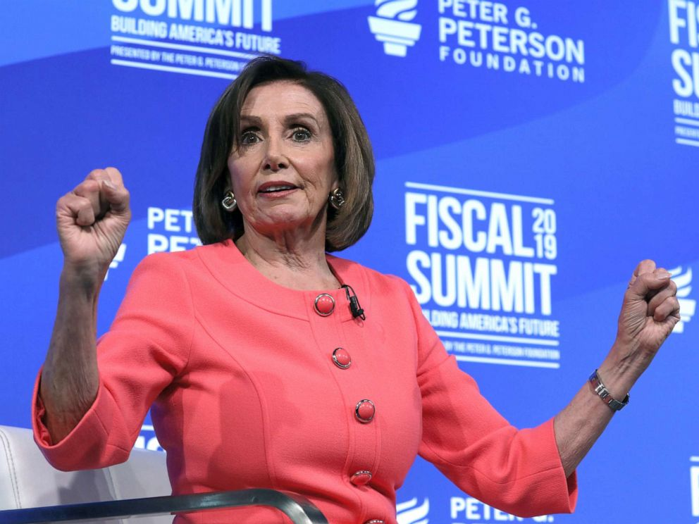 PHOTO: House Speaker Nancy Pelosi (D-CA) sits for an onstage interview about the budget at the Peterson Foundations annual Fiscal Summit in Washington D.C., June 11, 2019.