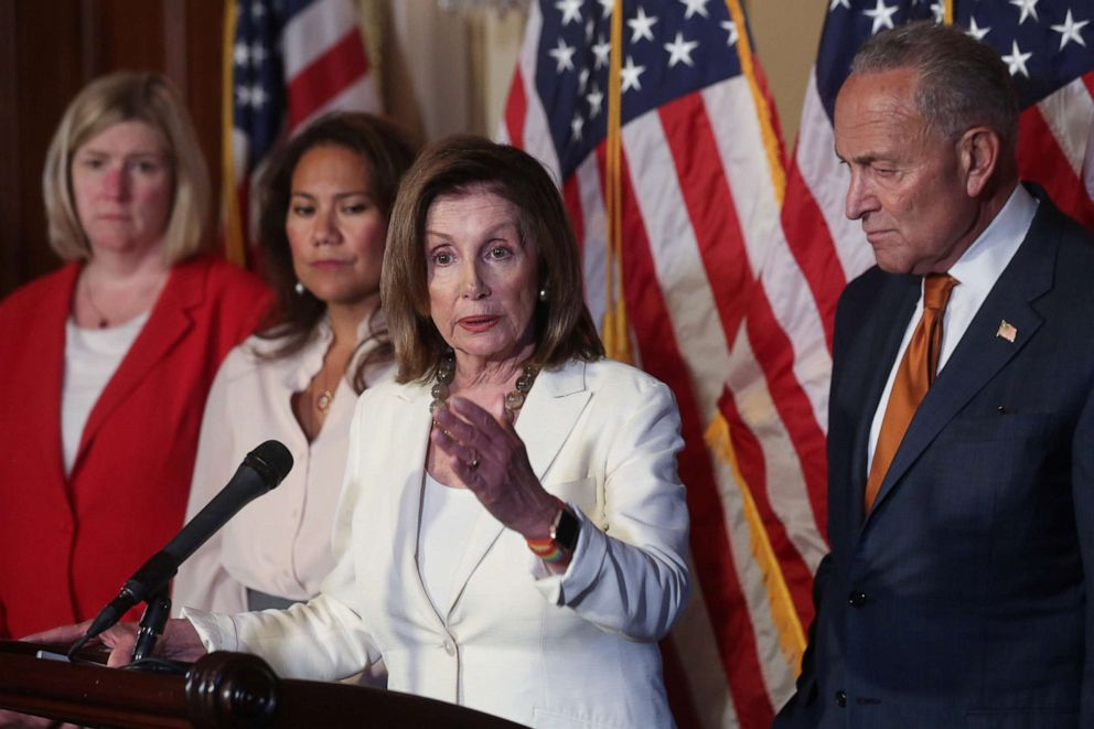 PHOTO: House Speaker Nancy Pelosi, Senate Minority Leader Chuck Schumer, Mayor Nan Whaley of Dayton, Ohio, and Rep. Veronica Escobar, hold a news conference in Washington, D.C., September 9, 2019.