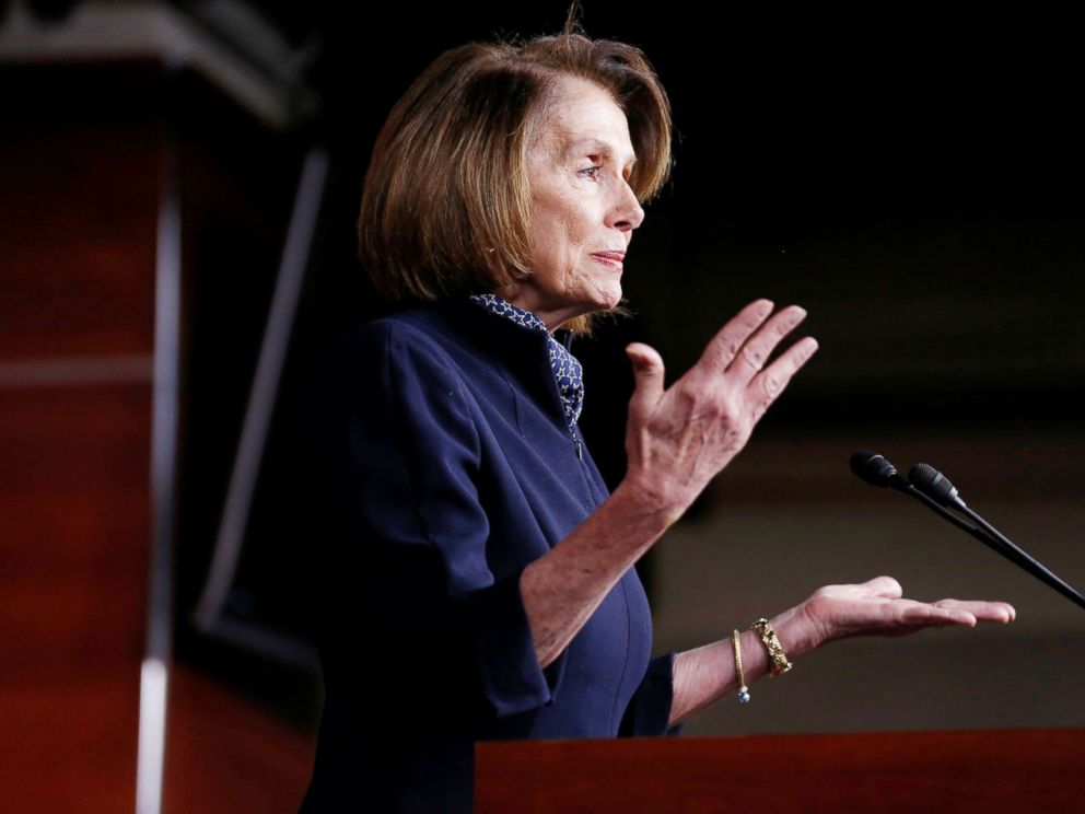 PHOTO: House Minority Leader Nancy Pelosi speaks during a briefing on Capitol Hill in Washington, Dec. 13, 2018.