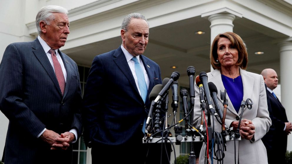 Speaker of the House Nancy Pelosi, right, and Senate Minority Leader Chuck Schumer speak to reporters along with House Majority Leader Steny Hoyer, left, in Washington, Jan. 4, 2019.