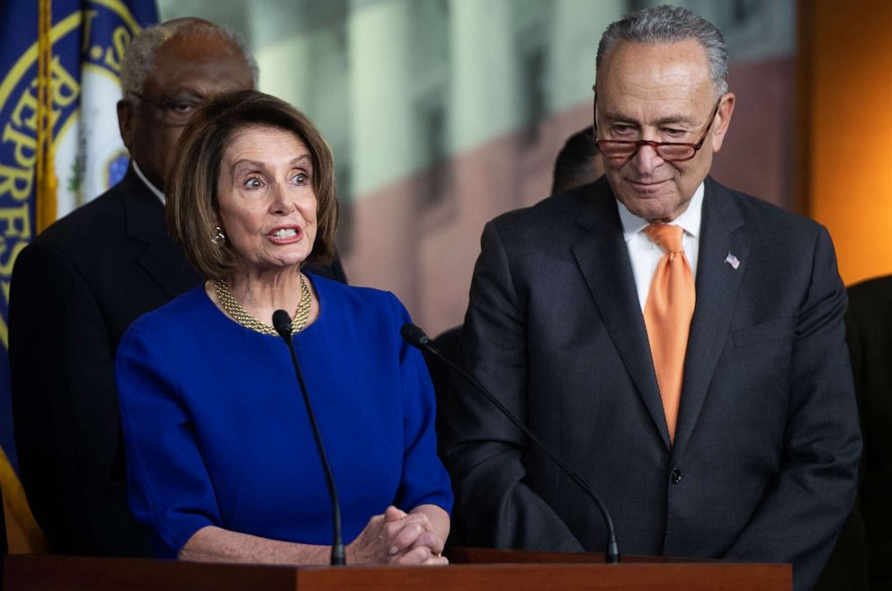 PHOTO: Speaker of the House Nancy Pelosi and Senate Democratic Leader Chuck Schumer hold a press conference on Capitol Hill in Washington, DC, May 22, 2019, following a meeting with US President Donald Trump at the White House