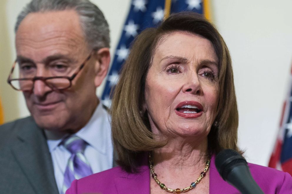 PHOTO: Nancy Pelosi and Charles Schumer conduct a news conference in the Capitol on May 22, 2018.