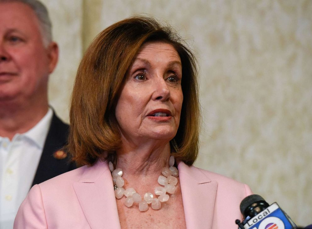 PHOTO: House Speaker Nancy Pelosi talks at a press conference at Bonaventure Town Center Club, Oct. 3, 2019, in Weston, Fla.