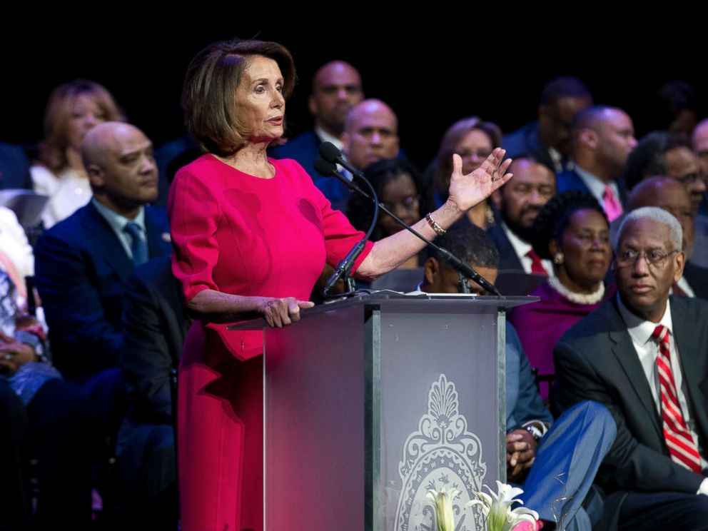 PHOTO: House Minority Leader Nancy Pelosi speaks during Congressional Black Caucus members swearing-in ceremony of the 116th Congress at The Warner Theatre in Washington, Jan. 3, 2019.