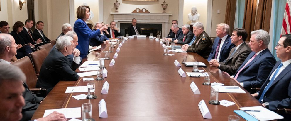 PHOTO: House Speaker Nancy Pelosi addresses President Donald Trump during a meeting with congressional leaders on Syria in the Cabinet Room at the White House, Oct. 16, 2019.