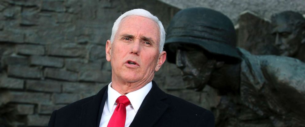 PHOTO: United States Vice President Mike Pence speaks during a statement in front of the Warsaw Uprising Monument in Warsaw, Poland, Feb. 14, 2019.
