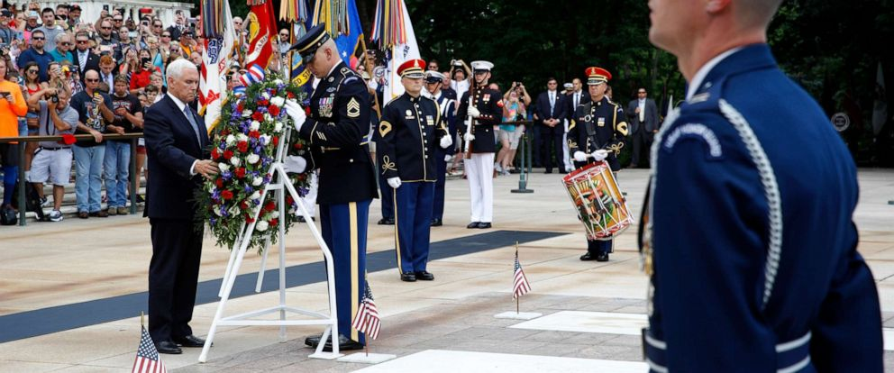 PHOTO: Vice President Mike Pence places a wreath in front of the Tomb of the Unknown Soldier in observance of Memorial Day, May 27, 2019.
