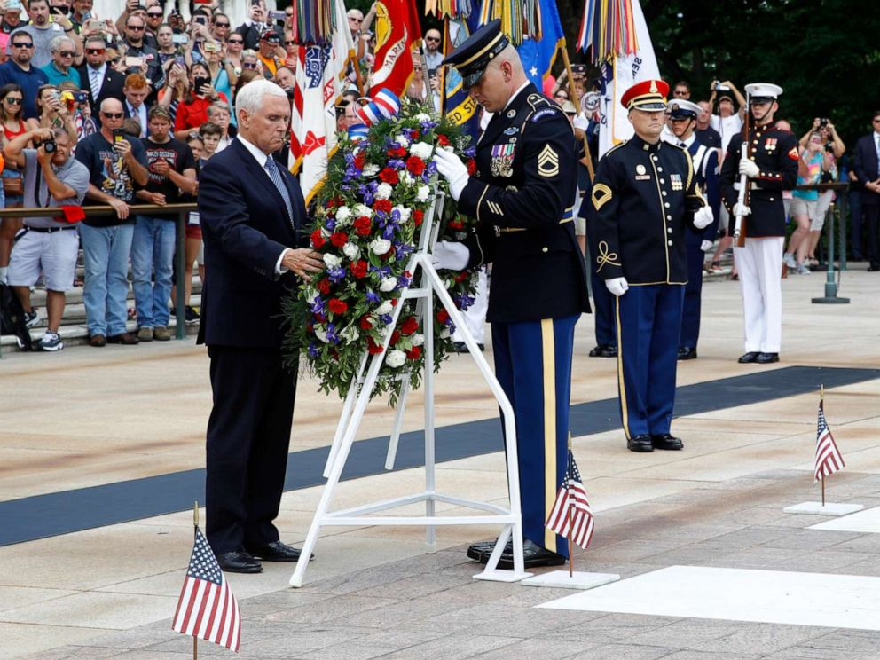 Vice President Mike Pence honors fallen service members at Arlington cemetery