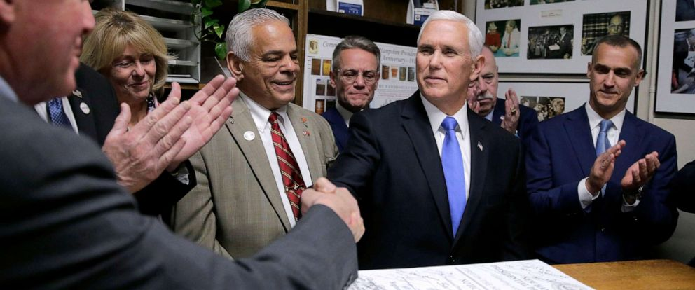 PHOTO: Republican Vice President Mike Pence files the ticket of President Donald Trump and himself to be listed on the New Hampshire primary ballot, Nov. 7, 2019, in Concord, N.H.