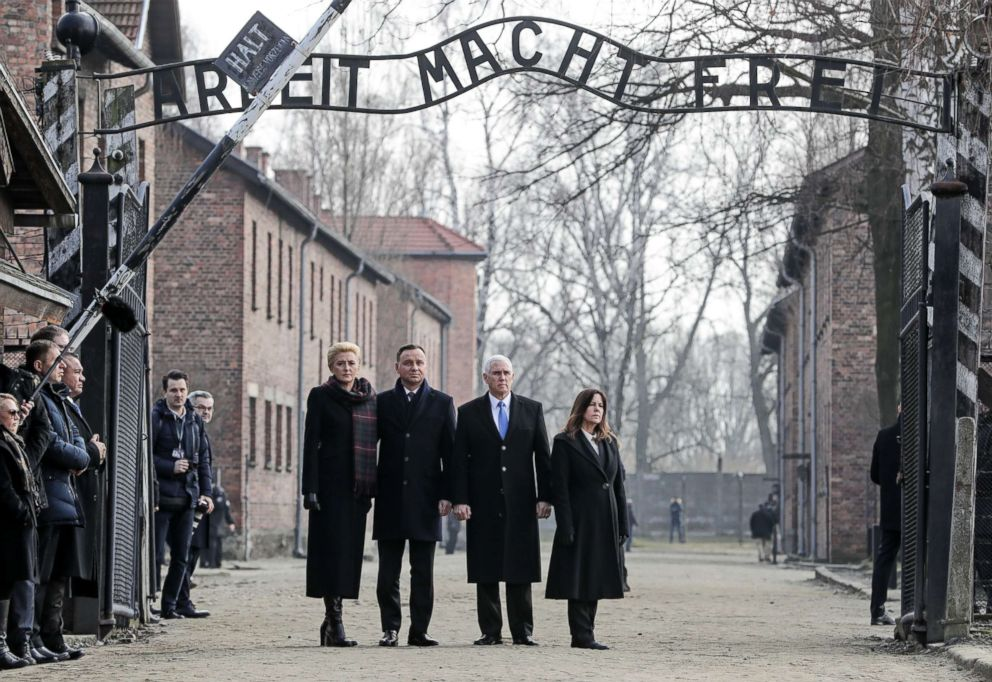 PHOTO: Vice President Mike Pence and his wife Karen Pence, right, stand with Polands President Andrzej Duda and his wife Agata Kornhauser-Duda, leftduring their visit at the Nazi concentration camp Auschwitz-Birkenau in Oswiecim, Poland, Feb. 15, 2019.