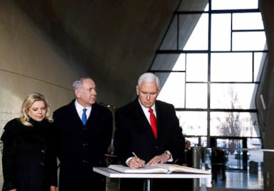 PHOTO: Vice President Mike Pence, Israeli Prime Minister Benjamin Netanyahu and his wife Sara visit the Jewish Museum in Warsaw, Poland, Feb. 14, 2019.