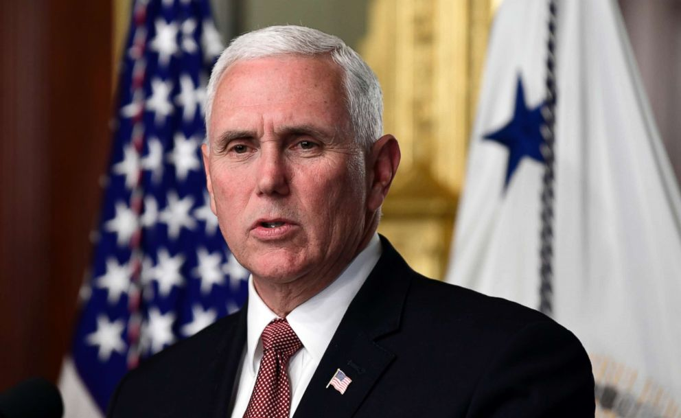 PHOTO: Vice President Mike Pence speaks during an event to swear in Carlos Trujillo as the U.S. Ambassador to the Organization of American States on the White House complex, May 2, 2018.