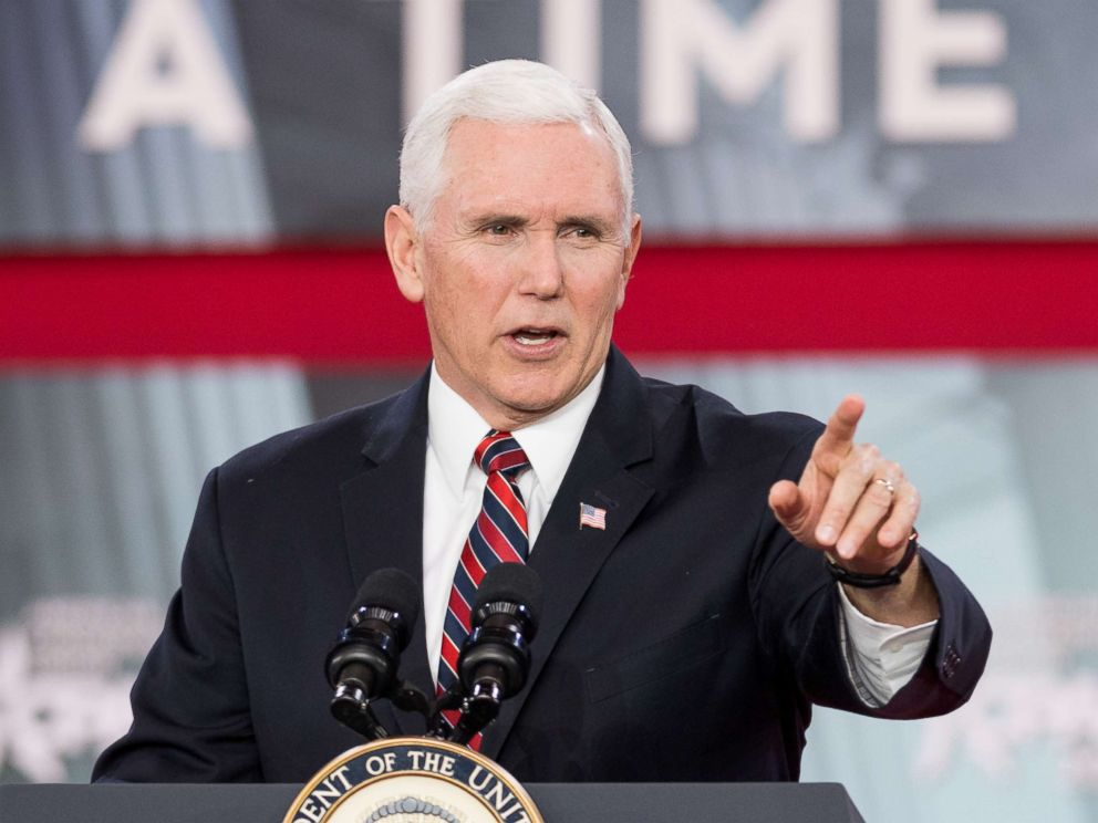 PHOTO: Vice President Mike Pence at the Conservative Political Action Conference (CPAC) sponsored by the American Conservative Union held at the Gaylord National Resort & Convention Center in National Harbor, Md.