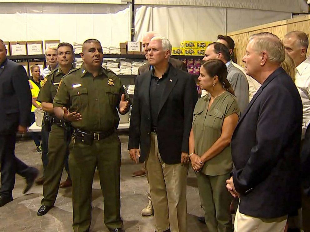 PHOTO: Vice President Mike Pence surveys the holding facility in Donna, Texas, July 12, 2019.