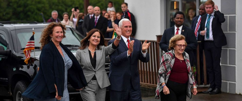 PHOTO: Vice President Mike Pence, his wife Karen Pence, second left, his sister Anne Pence Poynter, left, and his mother Nancy Pence Fritsch, right, arrive in Doonbeg, Ireland, Sept. 3, 2019.