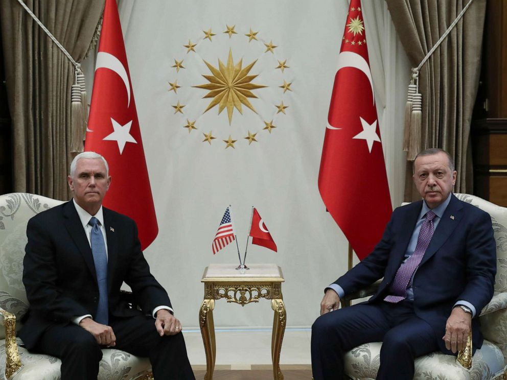 PHOTO: Vice President Mike Pence, left, and Turkish President Recep Tayyip Erdogan pose for photos before their talks at the presidential palace, in Ankara, Turkey, on Oct. 17, 2019.