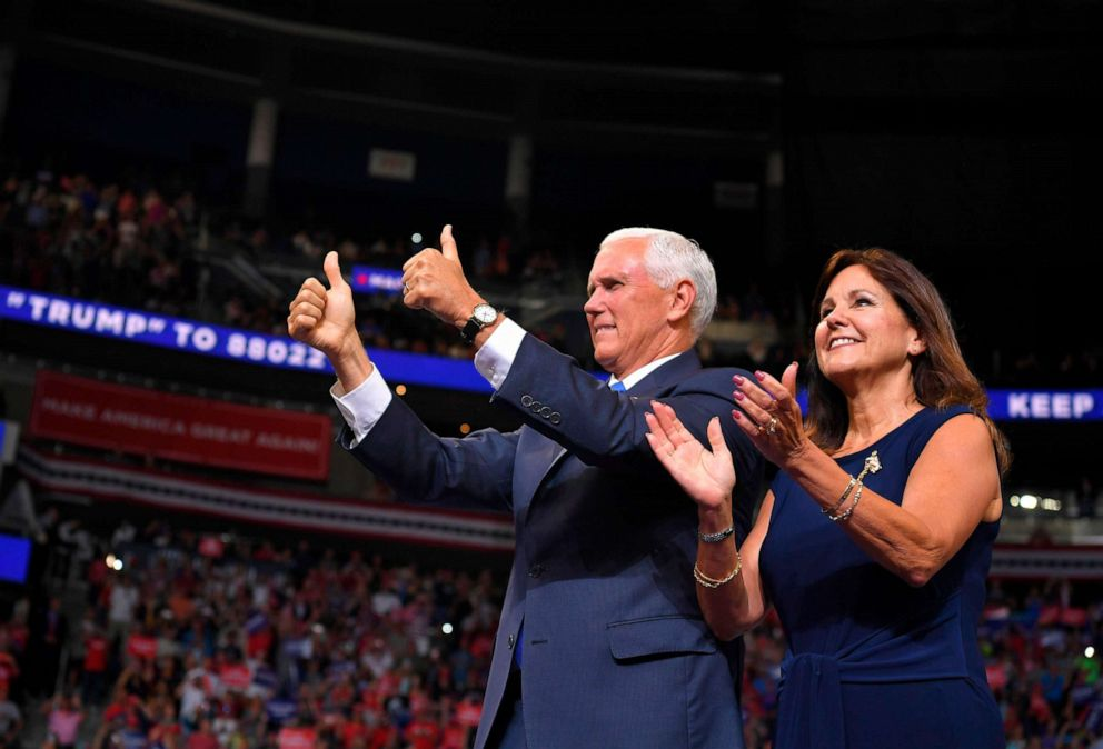 PHOTO: Vice President Mike Pence and Karen Pence arrive at a rally for US President Donald Trump, to officially launch the Trump 2020 campaign, at the Amway Center in Orlando, Fla., June 18, 2019.