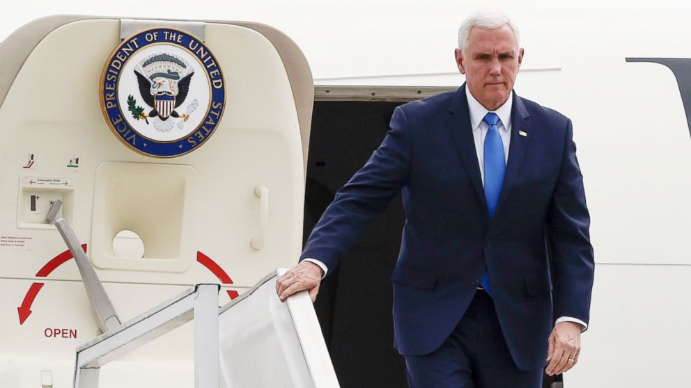 Vice President Mike Pence disembarks from his plane upon arrival in Bogota, Feb. 25, 2019.