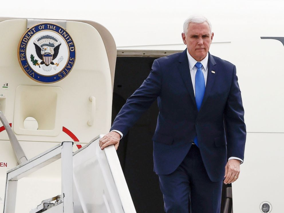 PHOTO: Vice President Mike Pence disembarks from his plane upon arrival in Bogota, Feb. 25, 2019.