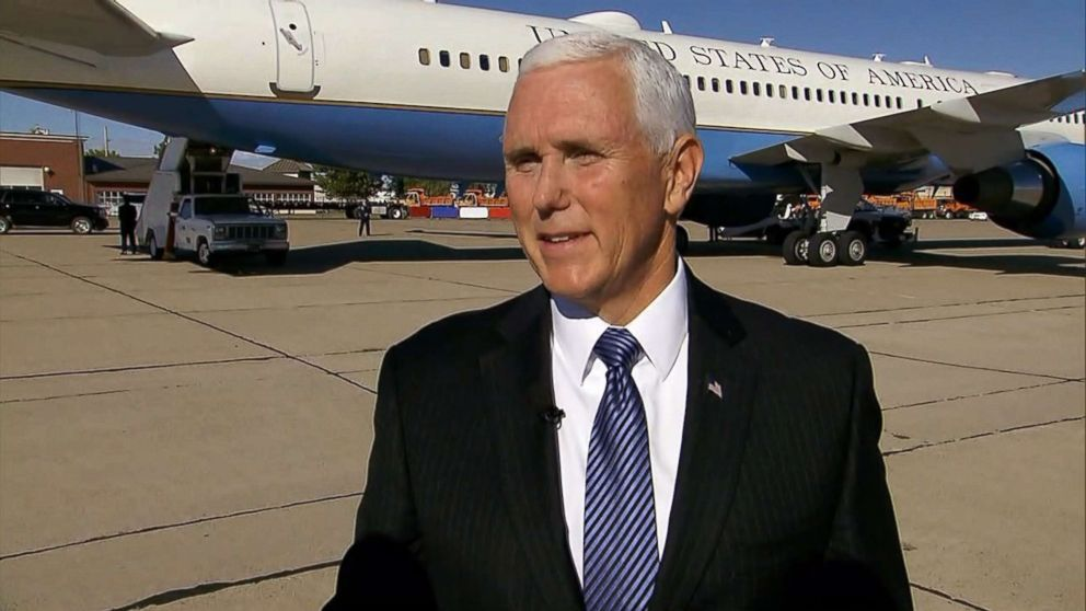 PHOTO: ABC News Tara Palmeri speaks with Vice President Mike Pence in New Mexico, Oct. 26, 2018