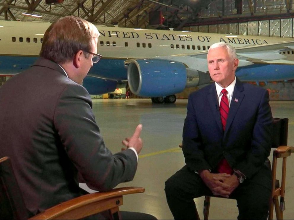 PHOTO: Pence told ABC News Johnathan Karl in an interview Thursday morning that seeing the three men just released by North Korea was really one of the greatest joys of my life.