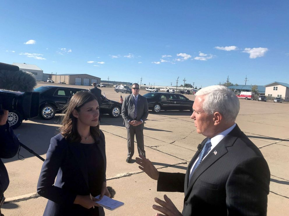 PHOTO: ABC News Tara Palmeri speaks with Vice President Mike Pence in New Mexico, Oct. 26, 2018.