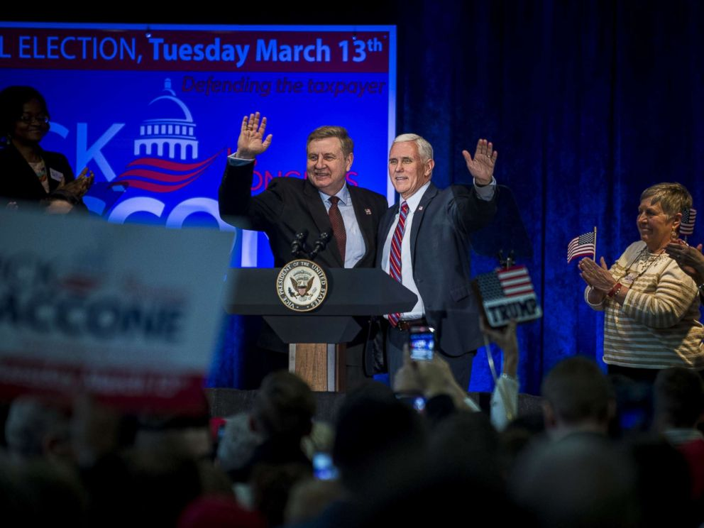 PHOTO: Republican Pennsylvania congressional candidate Rick Saccone and Vice President Mike Pence acknowledge the audience during a campaign event at the Bethel Park Community Center, Febru 2, 2018 in Bethel Park, Pennsylvania.