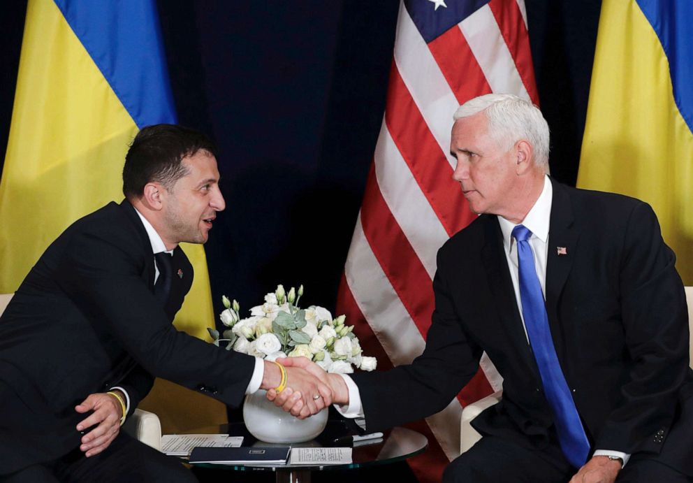 PHOTO: Ukraines President Volodymyr Zelenskiy, left, shakes hands with Vice President Mike Pence, in Warsaw, Poland, Sept. 1, 2019.
