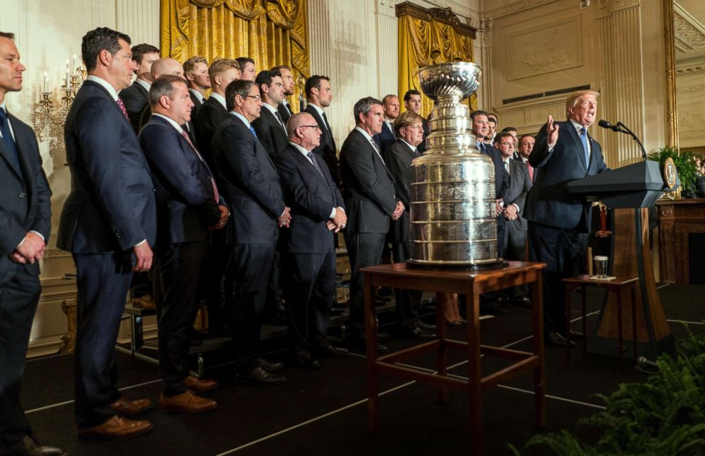 PHOTO: President Donald Trump honors the Stanley Cup champions, Pittsburgh Penguins, in the East Room of the White House, Oct. 10, 2017.