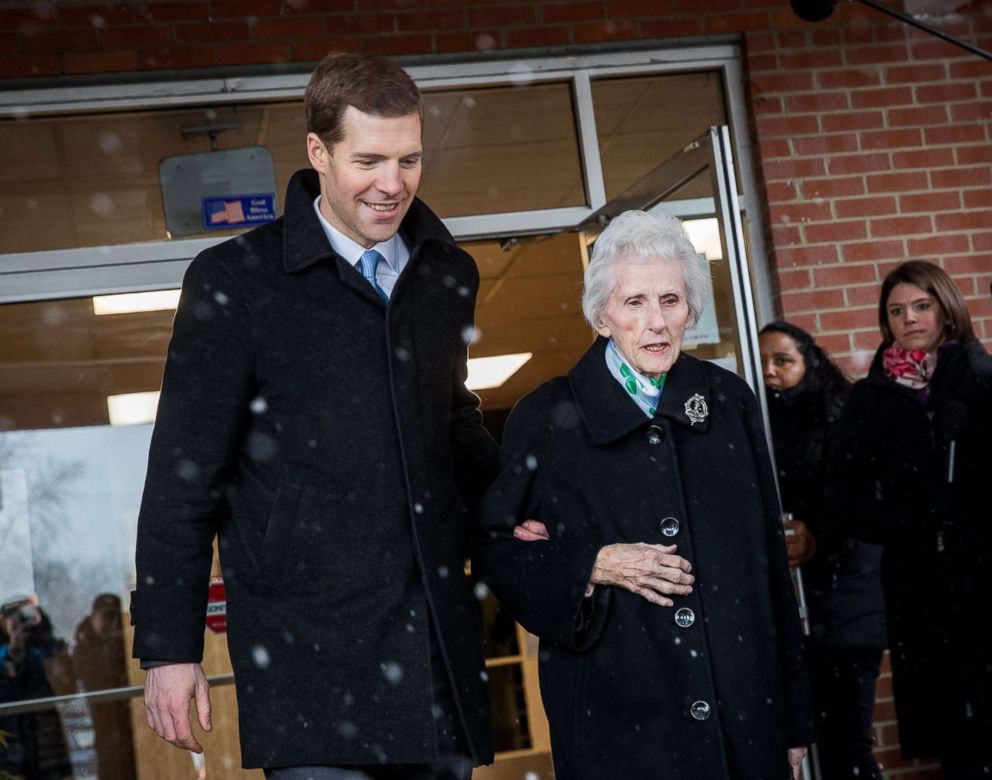 PHOTO: Conor Lamb, Democratic congressional candidate for Pennsylvanias 18th district, and his grandmother Barbara Lamb exit the polling station after she voted at Our Lady of Victory Church, March 13, 2018 in Carnegie, Pennsylvania.