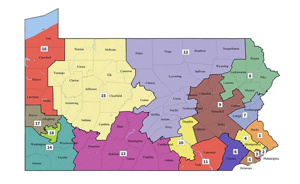 PHOTO: A new congressional map issued by The Pennsylvania Supreme Court.
