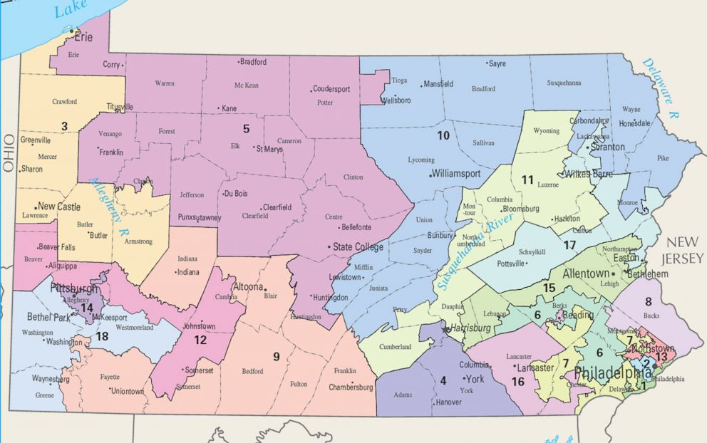 PHOTO: A map from the National Atlas shows Pennsylvanias congressional districts for the 113th Congress.