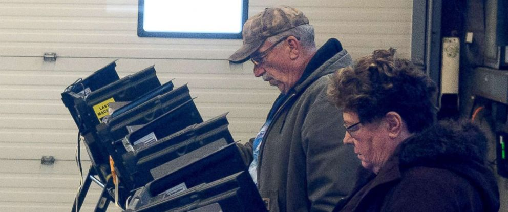 PHOTO: Voters place their ballots in a special election between Democratic candidate Conor Lamb and Republican candidate Rick Saccone March 13, 2018 at the Blaine Hill Volunteer Fire Department in Elizabeth, Pa.