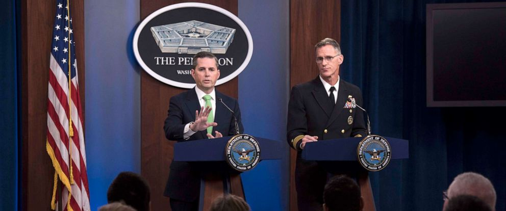 PHOTO: Assistant to the Secretary of Defense for Public Affairs Jonathan Rath Hoffman and Navy Rear Adm. William D. Byrne Jr., Joint Staff vice director, respond to questions at a news conference at the Pentagon, Washington, D.C., Nov. 7, 2019.