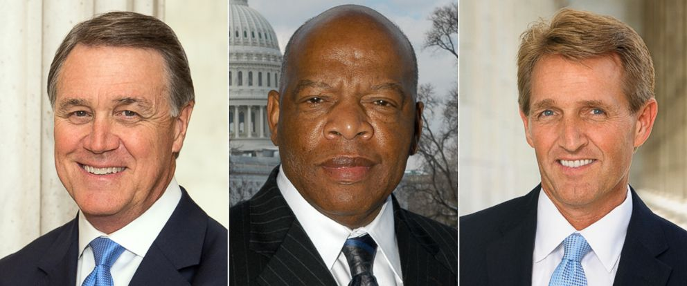 PHOTO: From left, Senator David Perdue, Rep. John Lewis and Senator Jeff Flake.