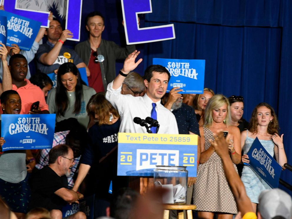 PHOTO: Democratic presidential contender Pete Buttigieg holds a town hall in North Charleston, South Carolina, May 5, 2019.