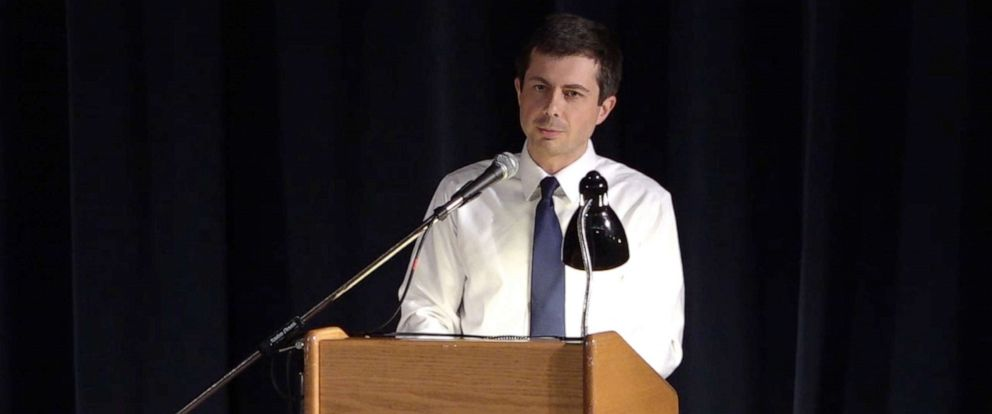 PHOTO: Mayor Pete Buttigieg addresses a town hall in South Bend, Ind., June, 23, 2019.