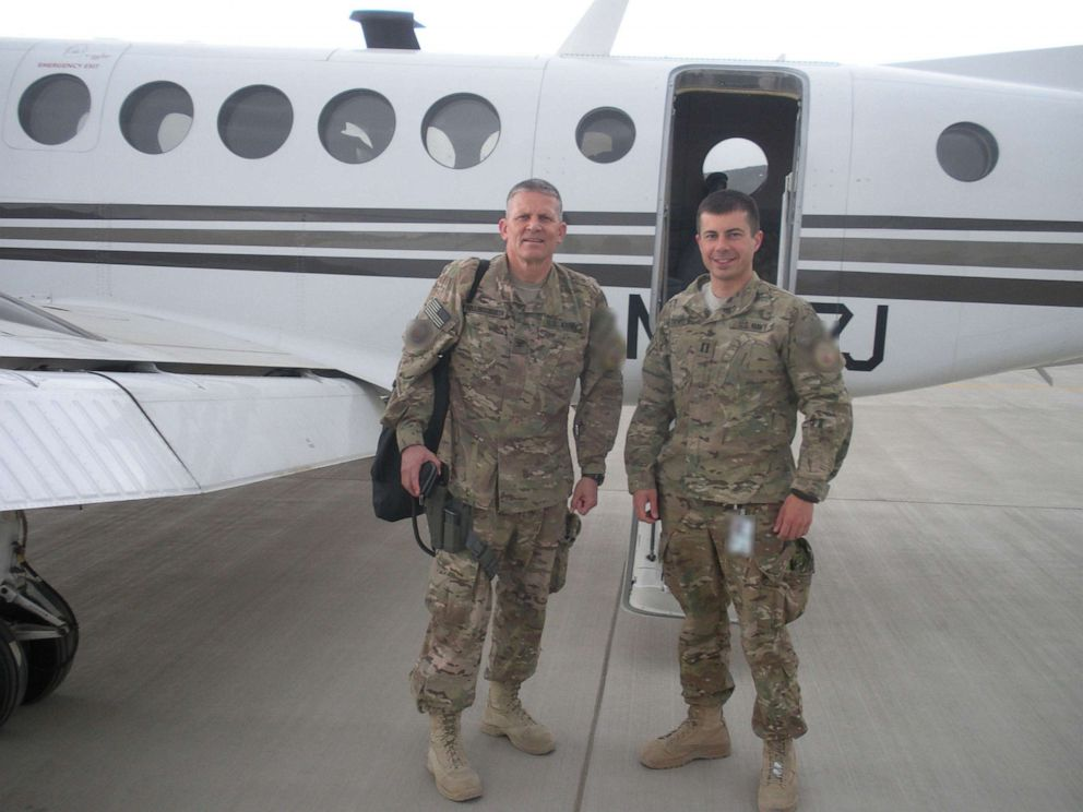 PHOTO: Pete Buttigieg, right, and his commanding officer, Guy Hollingsworth, left, sometimes took aircraft to meetings far from Kabul.